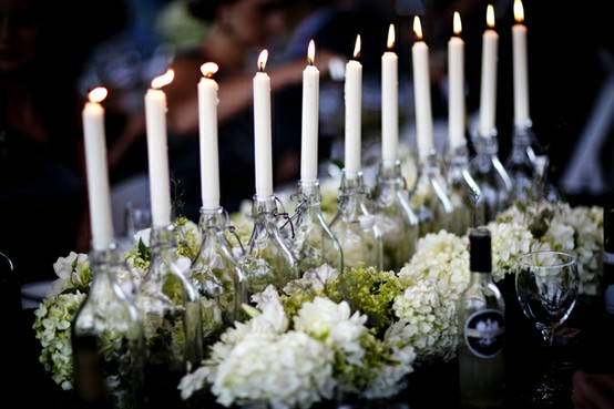 decoracao casamento garrafas de vidro: garrafas ou dentro de potes pequenos de vidro. Os resíduos que sobram